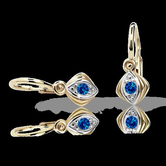 Baby earrings Danfil C1897 Yellow gold, Dark Blue, Front backs