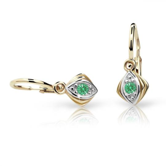Baby earrings Danfil C1897 Yellow gold, Emerald Green, Front backs