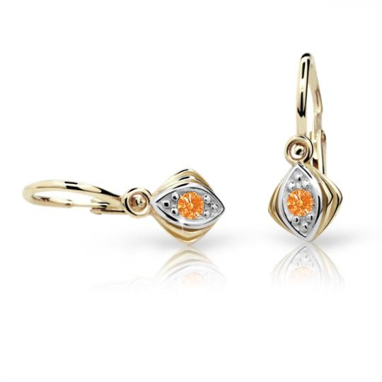 Baby earrings Danfil C1897 Yellow gold, Orange, Front backs