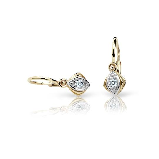 Baby earrings Danfil C1897 Yellow gold, White, Front backs