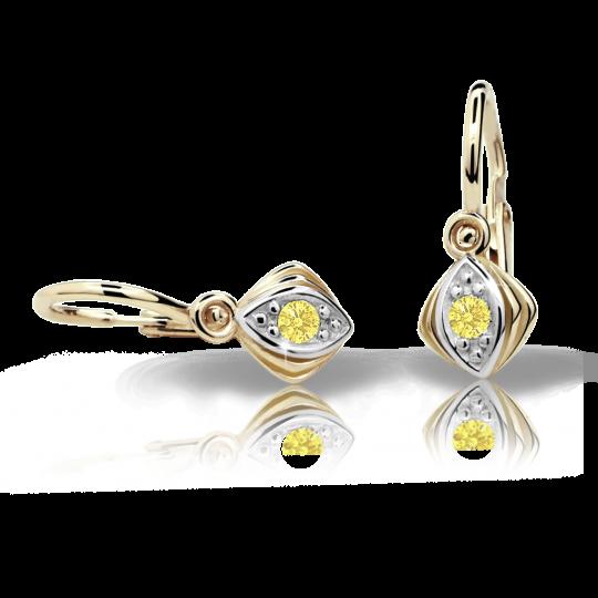 Baby earrings Danfil C1897 Yellow gold, Yellow, Front backs