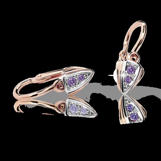 Baby earrings Danfil C1899 Rose gold, Amethyst, Front backs