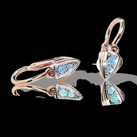 Baby earrings Danfil C1899 Rose gold, Arctic Blue, Front backs