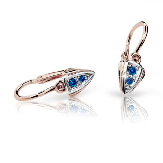 Baby earrings Danfil C1899 Rose gold, Dark Blue, Front backs