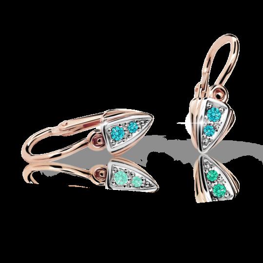 Baby earrings Danfil C1899 Rose gold, Mint Green, Front backs