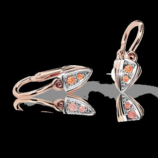 Baby earrings Danfil C1899 Rose gold, Orange, Front backs