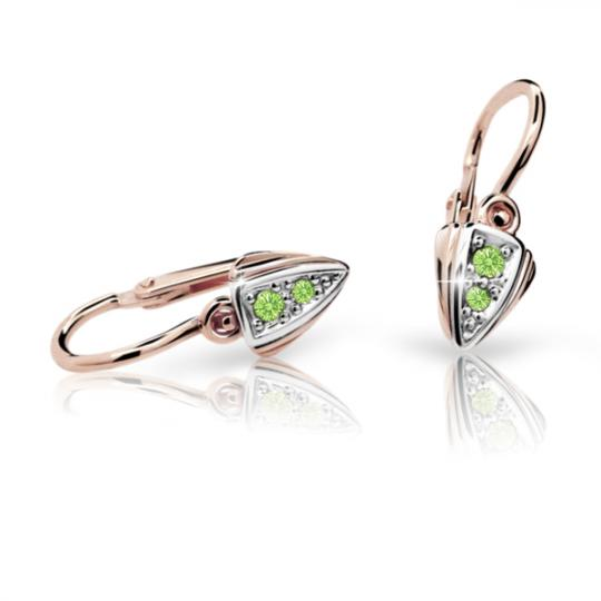 Baby earrings Danfil C1899 Rose gold, Peridot Green, Front backs