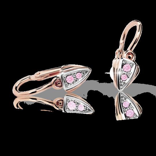 Baby earrings Danfil C1899 Rose gold, Pink, Front backs
