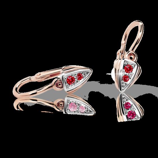 Baby earrings Danfil C1899 Rose gold, Ruby Dark, Front backs