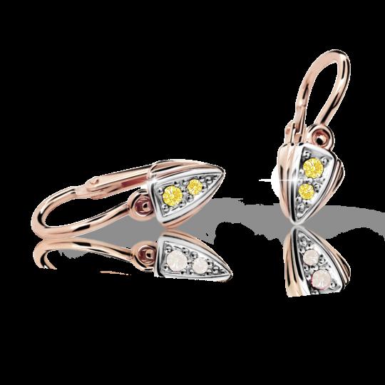 Baby earrings Danfil C1899 Rose gold, Yellow, Front backs