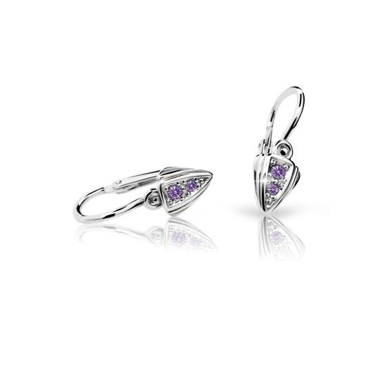 Baby earrings Danfil C1899 White gold, Amethyst, Front backs