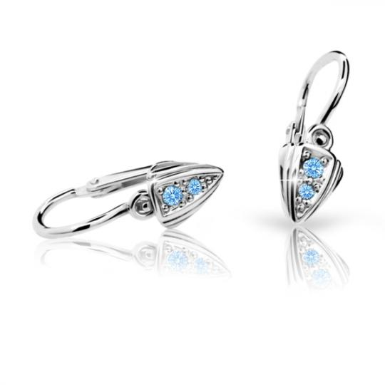 Baby earrings Danfil C1899 White gold, Arctic Blue, Front backs