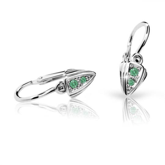 Baby earrings Danfil C1899 White gold, Emerald Green, Front backs