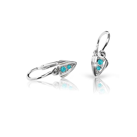 Baby earrings Danfil C1899 White gold, Mint Green, Front backs