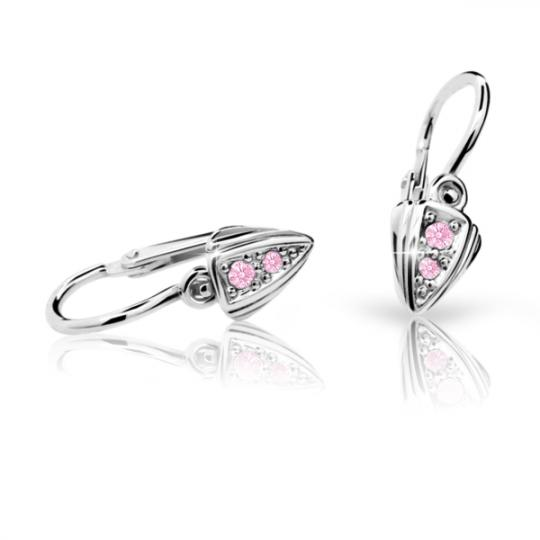 Baby earrings Danfil C1899 White gold, Pink, Front backs