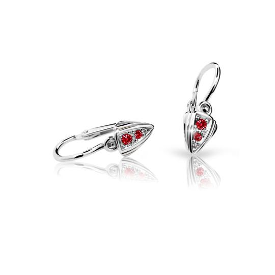 Baby earrings Danfil C1899 White gold, Ruby Dark, Front backs