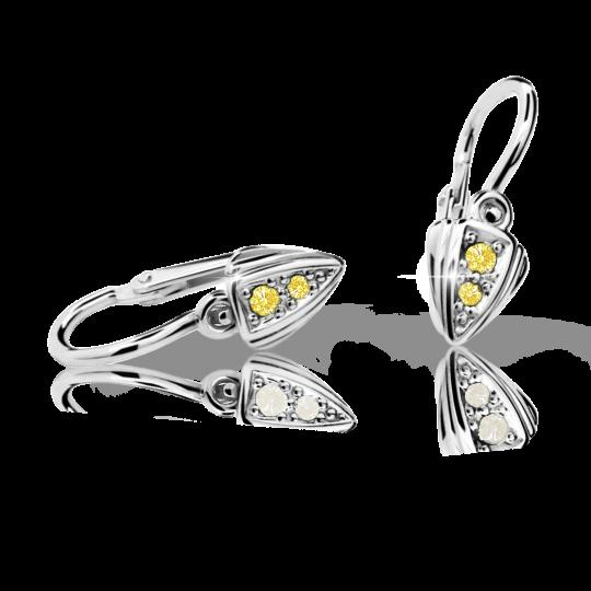 Baby earrings Danfil C1899 White gold, Yellow, Front backs