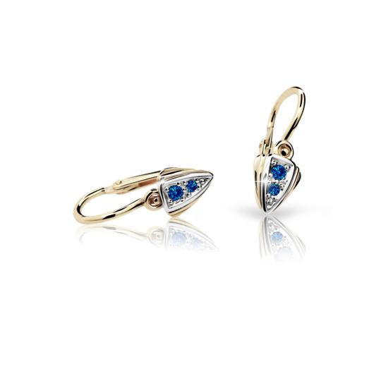 Baby earrings Danfil C1899 Yellow gold, Dark Blue, Front backs