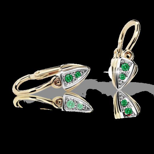 Baby earrings Danfil C1899 Yellow gold, Emerald Green, Front backs