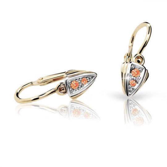 Baby earrings Danfil C1899 Yellow gold, Orange, Front backs