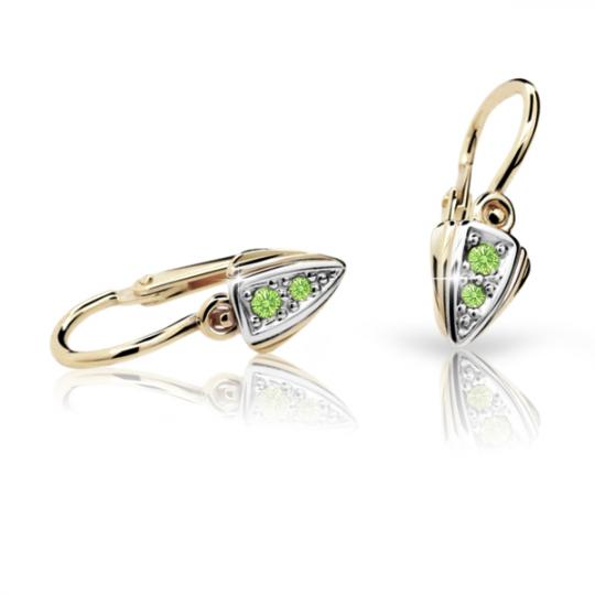 Baby earrings Danfil C1899 Yellow gold, Peridot Green, Front backs