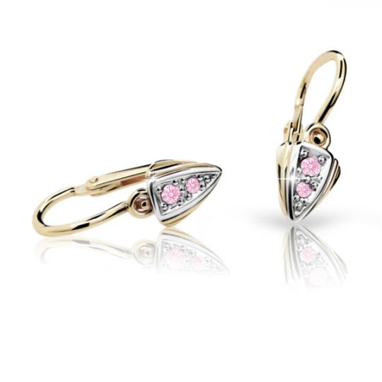 Baby earrings Danfil C1899 Yellow gold, Pink, Front backs