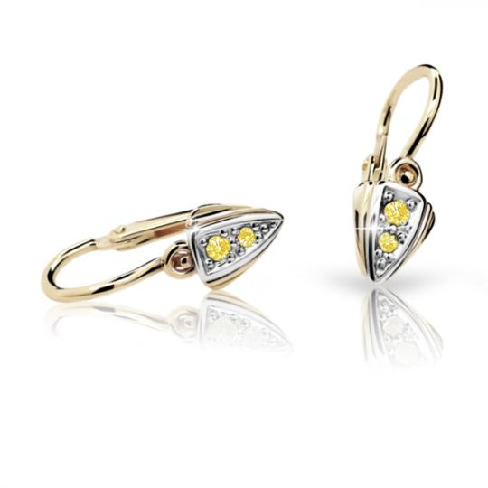 Baby earrings Danfil C1899 Yellow gold, Yellow, Front backs