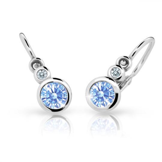Baby earrings Danfil C1984 White gold, Arctic Blue, Front backs