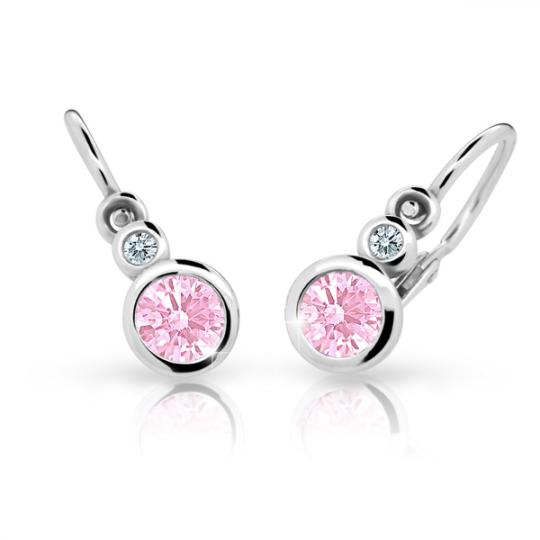 Baby earrings Danfil C1984 White gold, Pink, Front backs