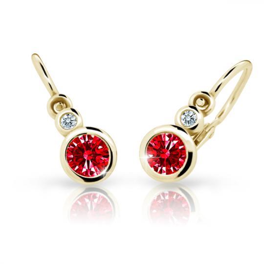 Baby earrings Danfil C1984 Yellow gold, Ruby Dark, Front backs