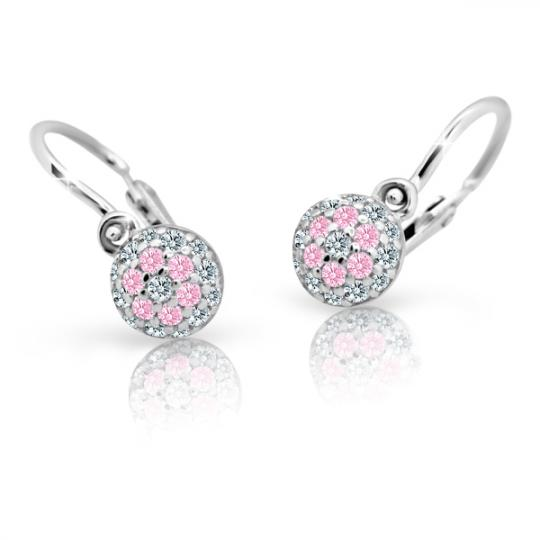 Baby earrings Danfil C2150 White gold, Pink, Front backs