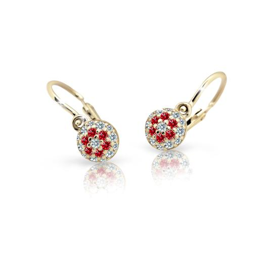 Baby earrings Danfil C2150 Yellow gold, Ruby Dark, Front backs