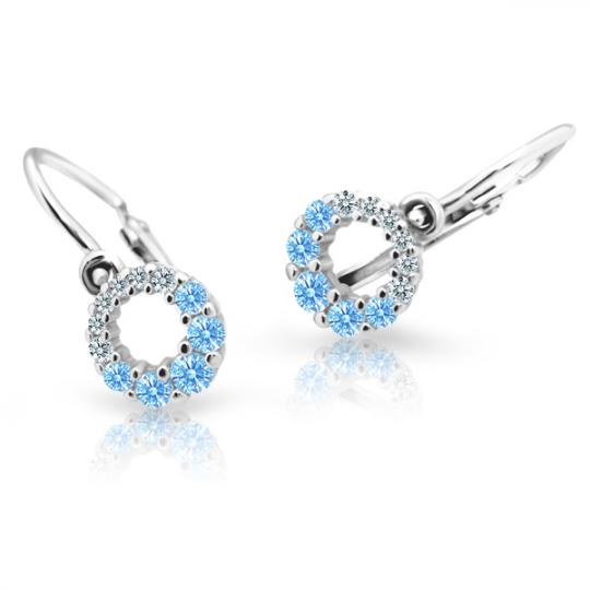 Baby earrings Danfil C2154 White gold, Arctic Blue, Front backs