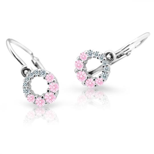 Baby earrings Danfil C2154 White gold, Pink, Front backs