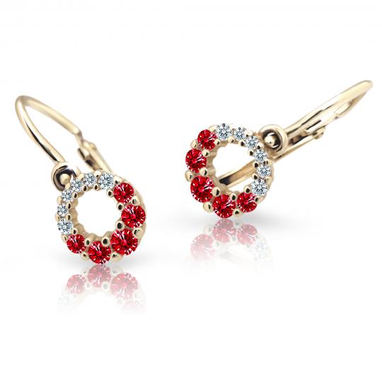 Baby earrings Danfil C2154 Yellow gold, Ruby Dark, Front backs