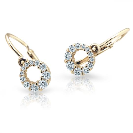 Baby earrings Danfil C2154 Yellow gold, White, Front backs