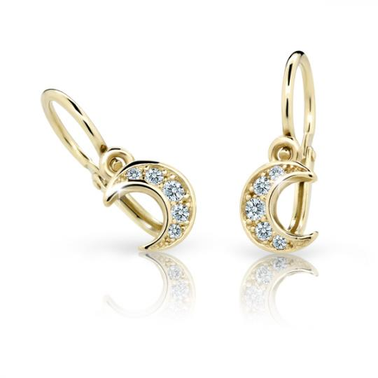 Baby earrings Danfil C2162 Yellow gold, White, Front backs