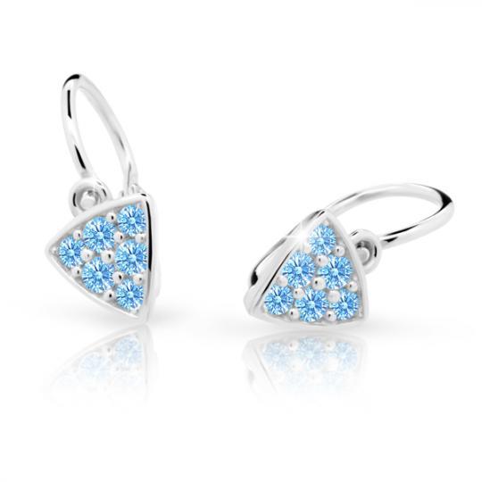 Baby earrings Danfil C2207 White gold, Arctic Blue, Front backs