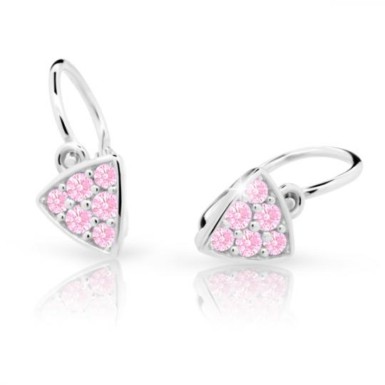 Baby earrings Danfil C2207 White gold, Pink, Front backs