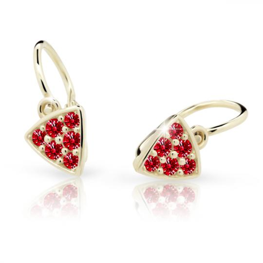 Baby earrings Danfil C2207 Yellow gold, Ruby Dark, Front backs