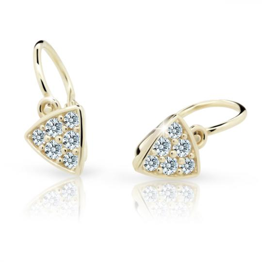 Baby earrings Danfil C2207 Yellow gold, White, Front backs