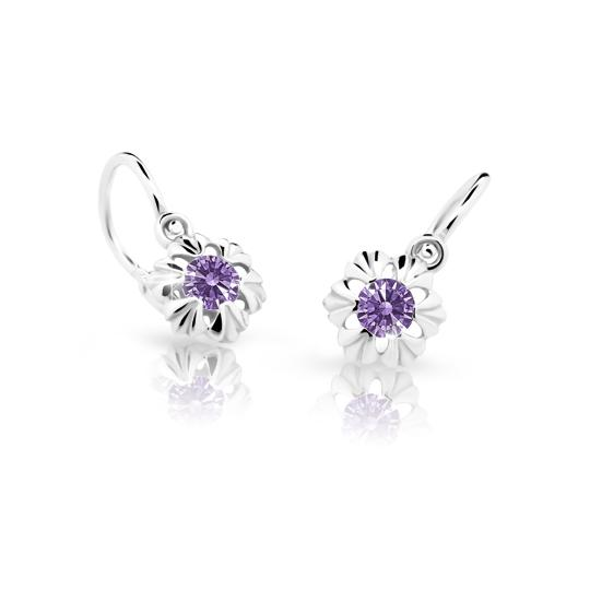Baby earrings Danfil C2213 White gold, Amethyst, Front backs