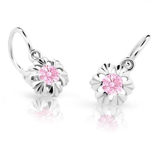 Baby earrings Danfil C2213 White gold, Pink, Front backs