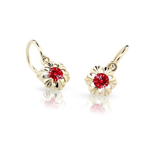 Baby earrings Danfil C2213 Yellow gold, Ruby Dark, Front backs