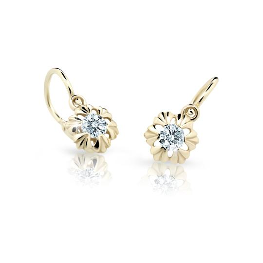 Baby earrings Danfil C2213 Yellow gold, White, Front backs