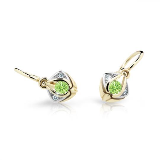 Baby earrings Danfil C2217 Yellow gold, Peridot Green, Front backs