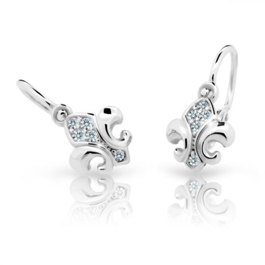 Baby earrings Danfil C2219 White gold, White, Front backs