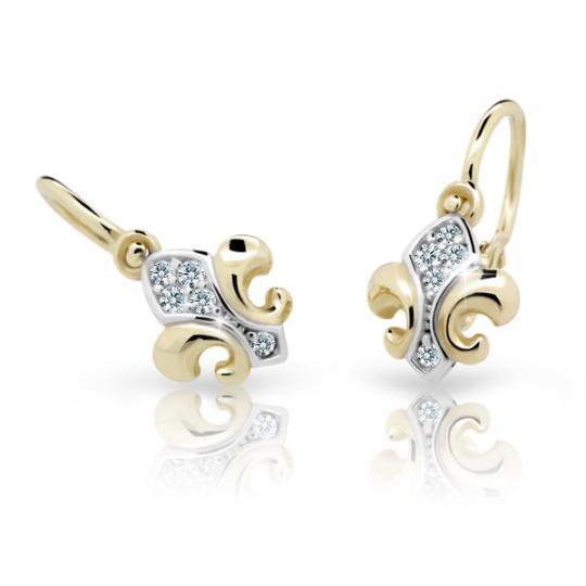 Baby earrings Danfil C2219 Yellow gold, White, Front backs