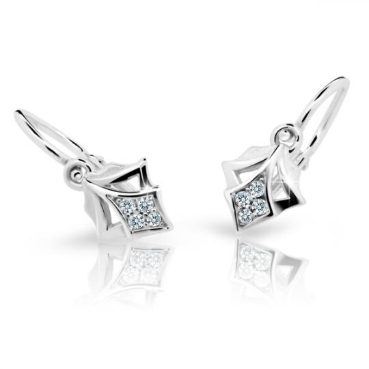 Baby earrings Danfil C2220 White gold, White, Front backs