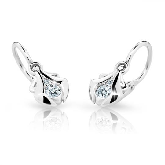 Baby earrings Danfil C2224 White gold, White, Front backs